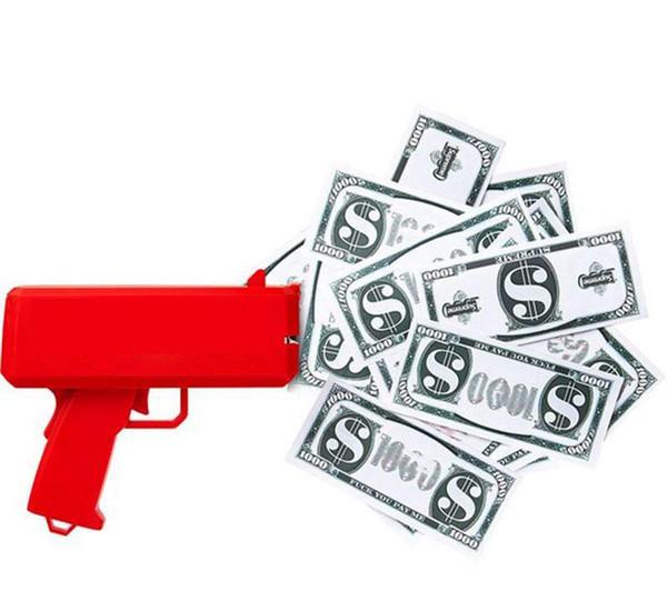 Make It Rain Money Gun Cash Cannon 100PCS Bills Fashion Party Gift Game Christmas Red Funny Pistol Toy Free Shipping