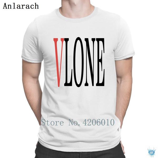 Vlone White Lettering T-Shirt Creature O-Neck Homme Humor Tshirt da uomo Vendita a buon mercato Letters Fun Summer