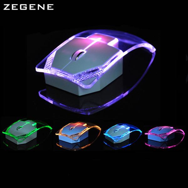Atacado- Nova Moda Transparente Rato Sem Fio Gamer Silencioso Colorido LED Poupança Brilho Gaming Mouse Mouse para Desktop Laptop