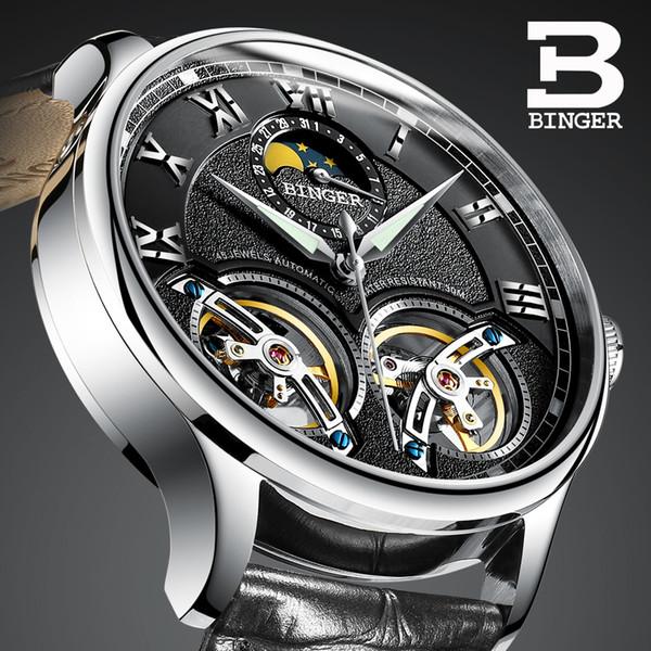 Doppelte Tourbillon Schweiz Uhren BINGER Original Herren Automatikuhr Selbst Wind Mode Herren Mechanische Armbanduhr Leder S923