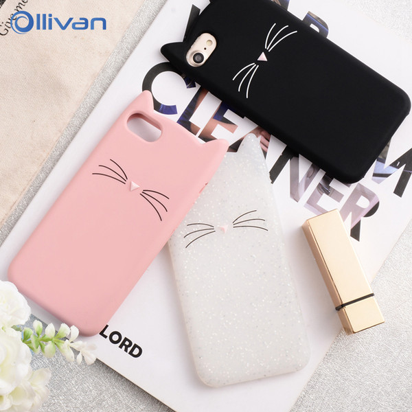 5s Case For iPhone 6 6S 7 8 Plus X Case 3D Cute Cartoon Animal Cat Ear Silicone Case For iPhone 5S SE 6 6S 7 8 Plus Capa