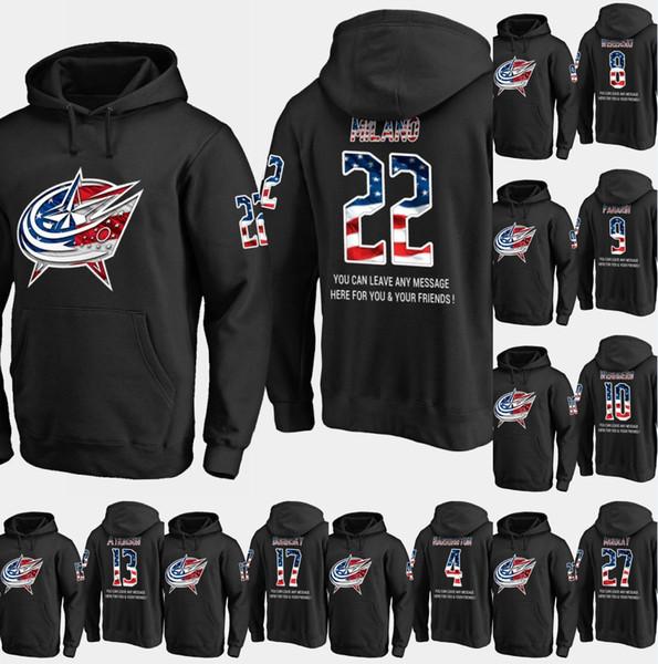 Мужская Columbus Blue Jacket флаг США толстовка 77 Джош Андерсон 17 Брэндон Дубинский 91 Энтони Дуклер хоккей Sweatershirtи черный S-XXXL