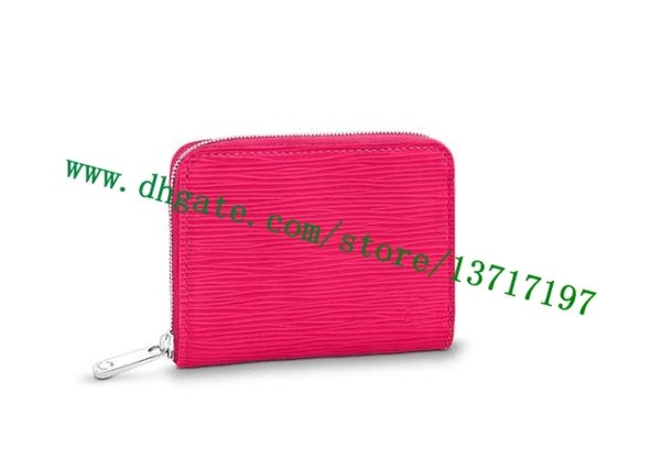 Top Grade Vernis Patent Embossed Real Leather ZIPPY COIN PURSE M90345 Lady Short Coin Wallet Hot PInk