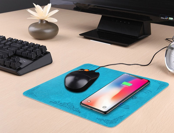 Qi Standard Wireless Mouse Pad Mat Charger for iPhone X 8 Plus Wireless Charging Pad for Cell phone Samsung Galaxy S9 S8