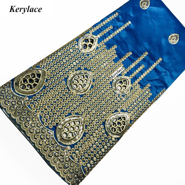KERYLACE Champagne High Quality Nigerian George Lace New Silk African Fabric Embroidery Sequin Fabric French Women Wedding Dresses SKY BLUE