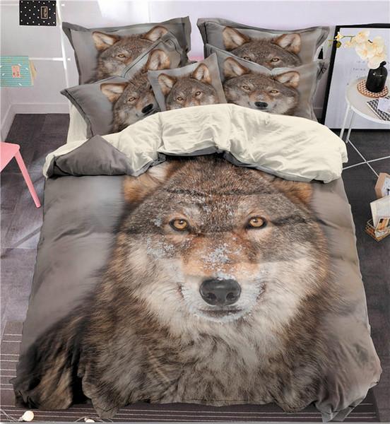 도매 3d 인도 늑대 침대 세트 퀸 사이즈 늑대 인쇄 깃털 이불 커버 pillowcase 3pcs Bedbedline와 설정