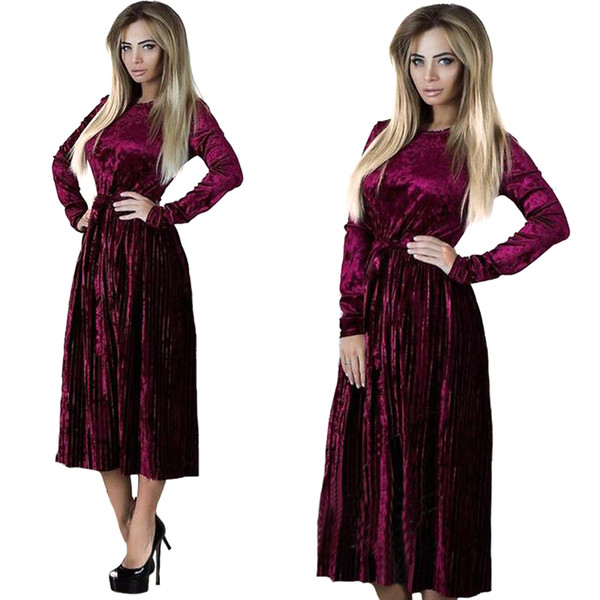 Neue Frauen Damen Winter Crushed Velvet Evening Party Langarm Kleid Soild Farbe Faltenrock RF0749