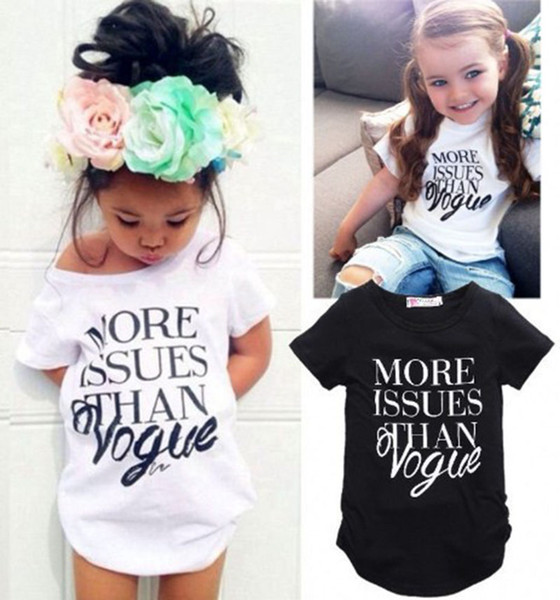 """top popular INS Baby """"more issues than vogue"""" letter print T-shirt 2018 summer Tees girls tops Boutique kids Clothing C3957 2020"""