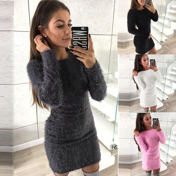 Frauen-Winter-lange Hülsen-feste Strickjacke-Fleece-warme grundlegende kurze Minikleider Z10