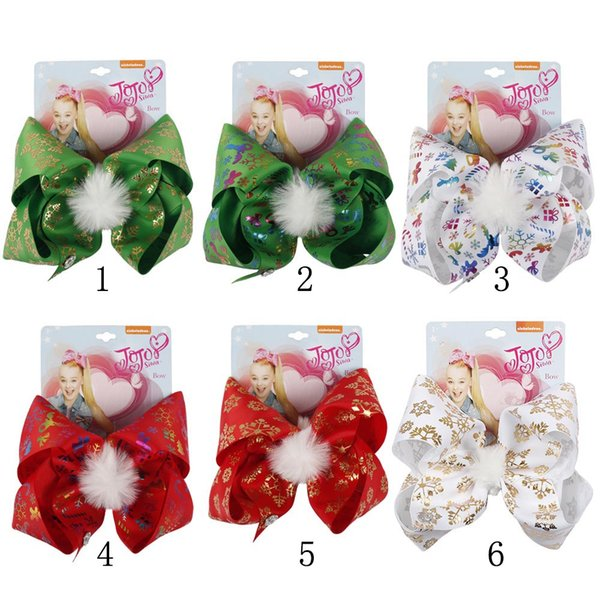 7'' Pompom Christmas Hair Bows Printed Snow Gifts Large Hair Clips Girls Festival Winter Santa Twinkle Bells Dog Fashion Hair Accessories