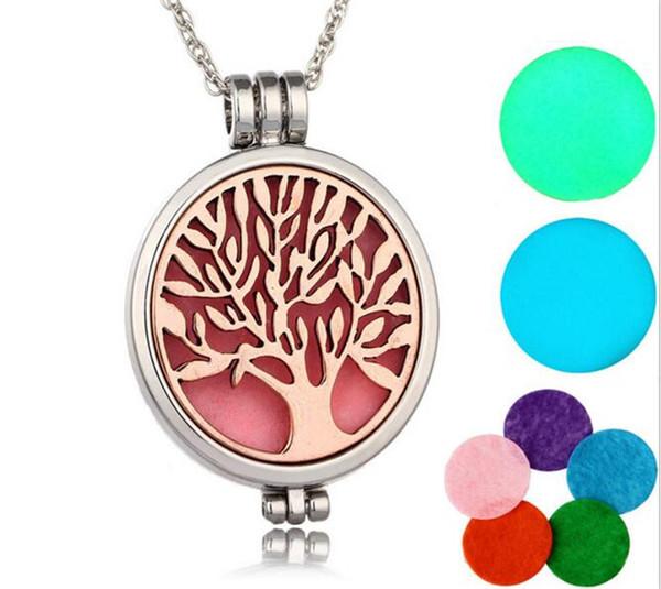 500 pcs arbre de vie aromathérapie huile essentielle diffuseur collier médaillon pendentif en acier inoxydable bijoux avec chaîne R195