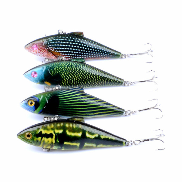 10Pcs/lot 14.6g 8.5cm Winter VIB Fishing Lure with Lead Inside Hard Bait Diving Swivel Jig Wobbler Lure Ice Sea Fishing Tackle