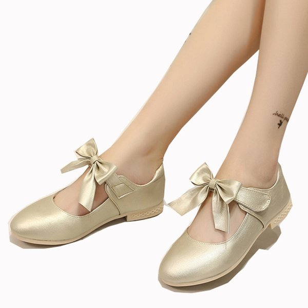 Kids Girls Flower Children white Wedding Party Dress Princess Shoes For Girls Pu Leather School Bow Dance Shoes New 2018 Spring Autumn