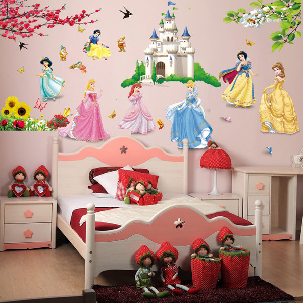 Removable Diy Seven Princess Birds Flower Castle Wall Stickers Home Decor  5102. For Kids Rooms Girl Children\'S Bedroom Sticker Removable Wall Art ...
