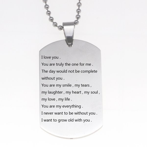 Latest Women Stainless Steel Jewelry I Love You I Want TO Gorw Old With You Necklace Keychain Dropship Accepted YP6340