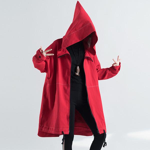 2018 Autumn Winter Trench Coat Women Plus Size Vintage Korean Fashion Hooded Denim Jacket Pockets Zip Design Casual Long Coat