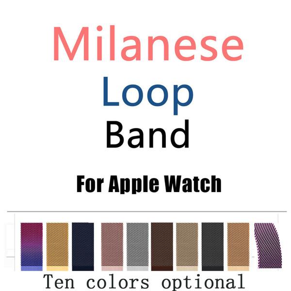 Milane e loop band for apple watch 38 42mm erie 1 2 3 tainle teel trap belt metal wri twatch bracelet replacement