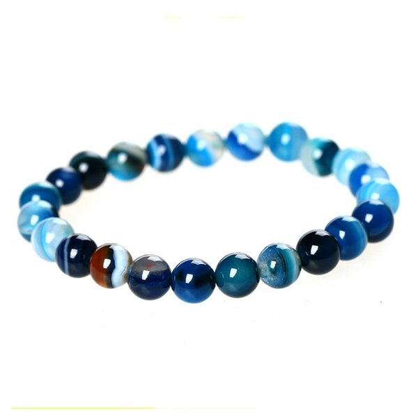 10mm Nature Stone Blue Buddha Beads Bracelets Bangles for Men Male Strand Bracelet Jewelry Accessories Wholesale