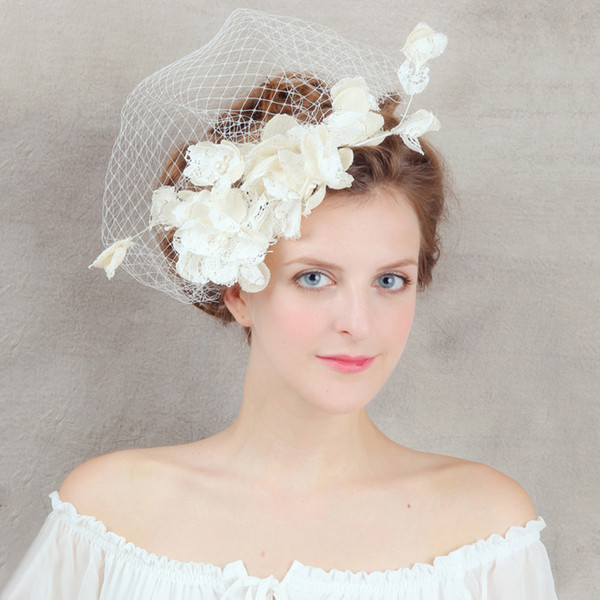 Linen Flower Bridal Hair Accessories Flowers with Net Women's Party Hair Accessories Elegant Fashion Wedding Hair Jewelry