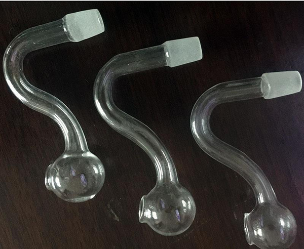 2018 NO.002 glass pipe Skull Smoking Handle Pipes Curved Mini Smoking Pipes Hand Blown Recycler Best Oil Burner gfh