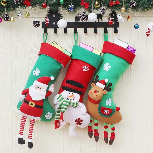 Medias de Navidad Hecho a mano Manualidades Niños Dulces Regalo Papá Noel Claus Muñeco de nieve Ciervos Calcetines de Navidad Árbol de Navidad juguete de regalo regalo # 19 20 21