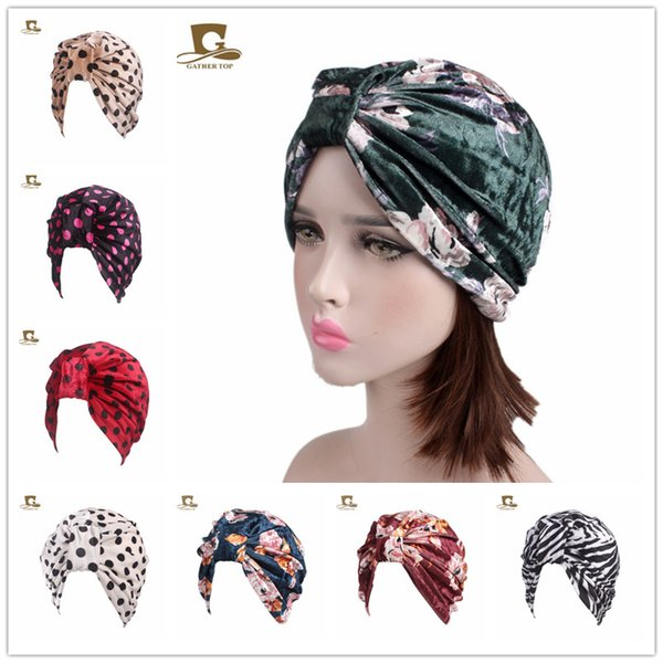 Muslim Women Stretch velvet Knot Dot Floral Turban Hat hijab Muslim headscarf hat Liedy girl Casual Scarf Cancer Chemo Beanies Headwrap Cap