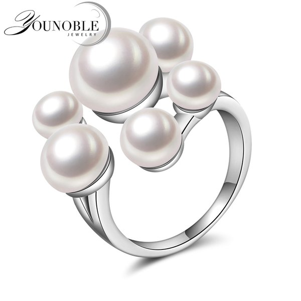 Wedding Real natural freshwater pearl rings for girls,funny 925 silver rings for women adjustable anniversary white best gifts C18111701
