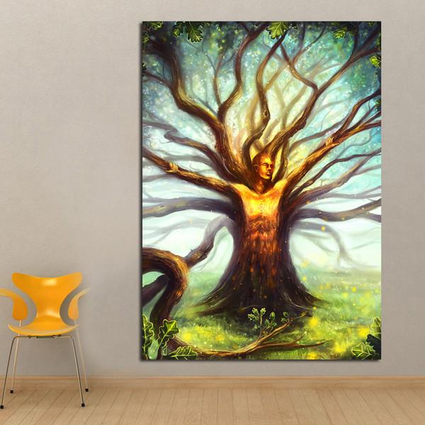 1 Panel Wall art Home Decor Tree God Abstract Pinturas al óleo sobre lienzo Imágenes de pared para sala de estar Sin marco