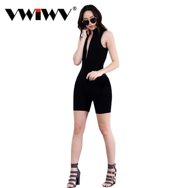 Summer 2018 Sexy jumpsuit romper short bodysuit Overalls one piece elegant playsuit Girl Grey/Black/Brown Front Zipper Jumpsuits Y1883109
