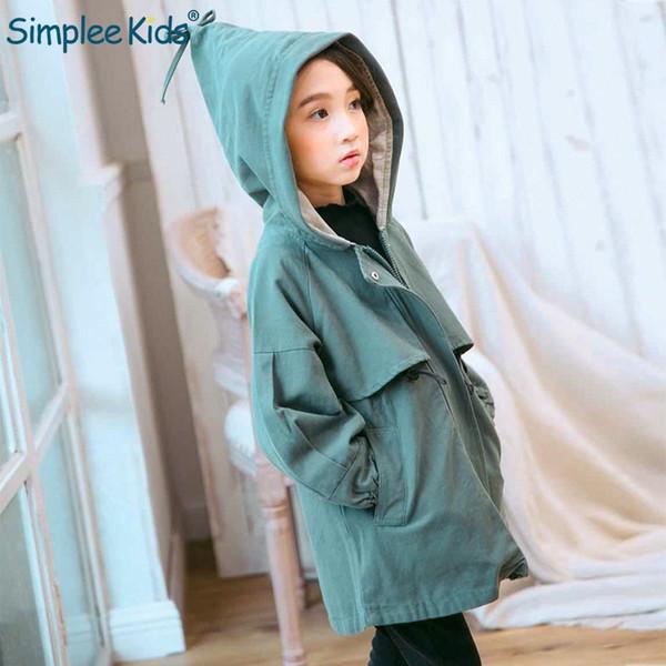 Simplee Kids 2018 Otoño niñas con capucha gabardina bowknot Moda niños rompevientos abrigo largo Grueso ropa de niña con paquete