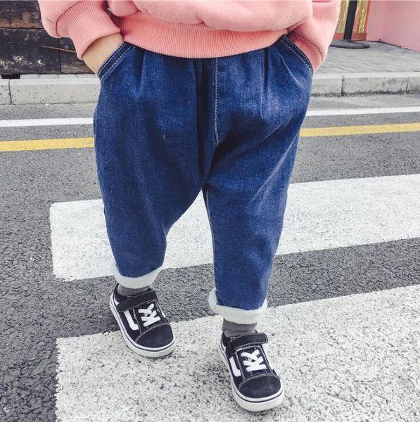 Hot Selling Boys Girls Denim Thicken Pants Autumn Winter Fashion Kids Jean Pants