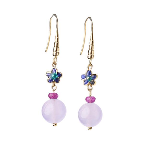 Antique silver earrings retro purple super fairy temperament personality wild cool wind small earrings female