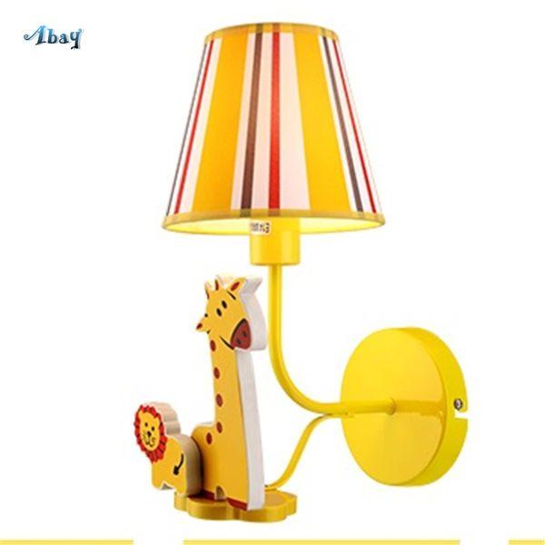 Acheter Dessin Anime Creative Jaune Girafe Appliques Enfants Chambre Chambre Chevet Applique Appliques Murales Cuisine Salle A Manger Decor Bebe Lampe