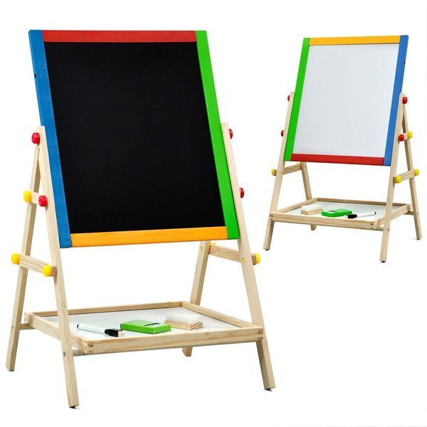 Children Kids 2 In 1 Wooden Drawing Board Artist Easel,Double-sided Easel,Black Chalk Board/White Dry Ease Board,Small