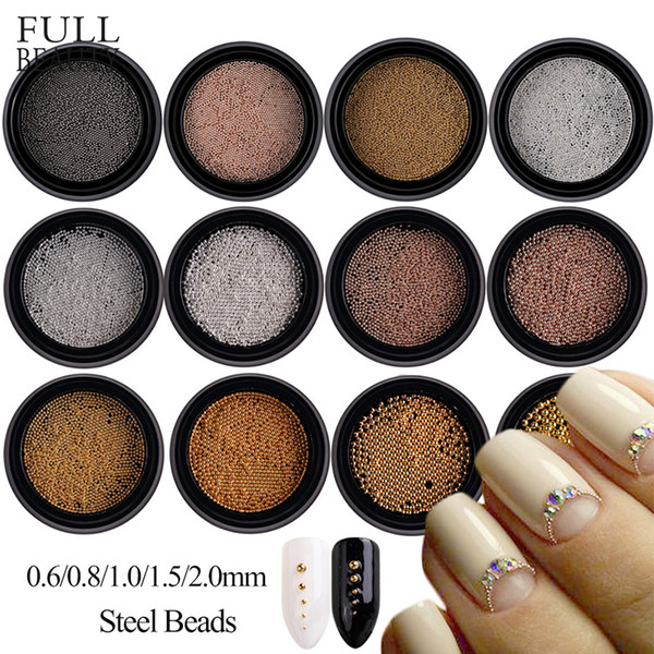Full Beauty Steel Beads Mini Caviar Nail Decorations 0.6mm/0.8mm/1mm/1.5mm/2mm Round Dot Grey Rose Gold Silver DIY Dust CH031
