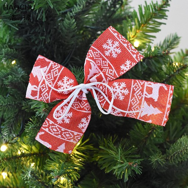 wholesale 5pcs Red Christmas Tree Bow Bowknot Ornaments Santa Claus Xmas New Year Decoration Party Supplies Gift Wrap Craft