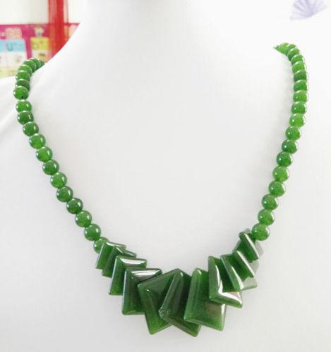 """Fashion Natural Green Jade Beads Jewelry Necklace 17"""" AAAA grade"""