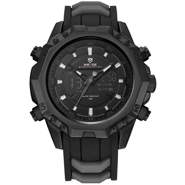 WEIDE Mens Sport Watches Men Military Waterproof Watch Analog Digital Led Black Rubber Strap Watch For Men Relogio Masculino S1019
