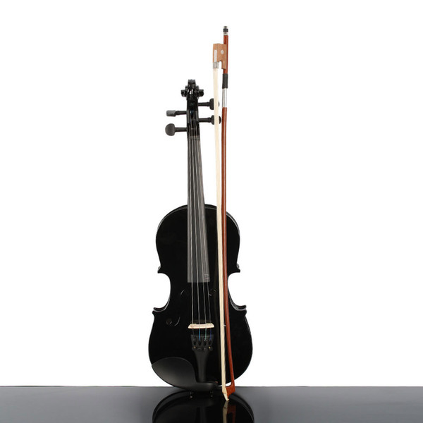 top popular Musical Instruments Beautifull 1 2 Size Acoustic Violin Case Bow Rosin Black Color for Student Beginner 2021