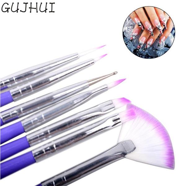 GUJHUI Pick Up Pen De Luxe 7 Nail Art Design Brosses Set Peinture Stylo Polonais Conseils Décorations Outils Nail Pigments 2017 Juin13