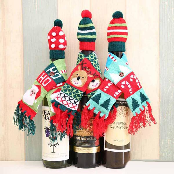 Вязать Санта Оленей Дерево Шаблон Мини Шарф Шляпа Бутылка Вина Крышка Случая Партии Рождественские Украшения Груза Падения