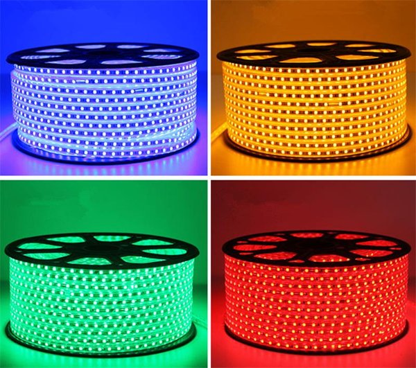Luz De Tira CONDUZIDA SMD5050 220 V AC IP67 À Prova D 'Água 60 LED / M 5 M / 10 M / 20 M / 50 M / 100 M Com Plugues de Energia Linha De Cobre Alta Lumen Alta Qualidade Para Decoração