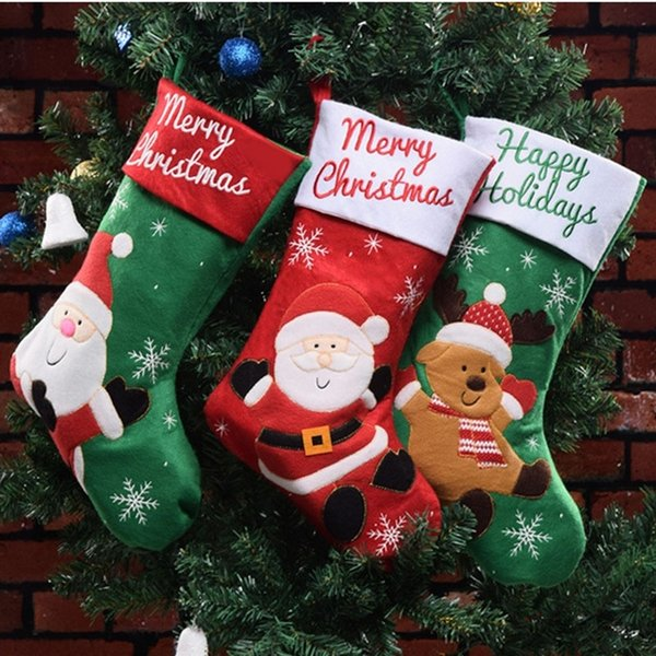 Non-woven Fabric Large Christmas Xmas Santa Elk Snowman Socks Decorations Candy Sock Hanging Storage Wish Gift Bags Holders