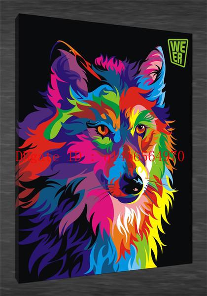 Wahyu Romdhoni Animal Wolf Fullcolor, Stampe su tela Wall Art Olio su tela Home Decor 24x36 20x30 16x24 12x18 (Senza cornice / Con cornice)
