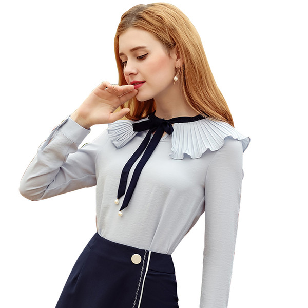 Fashion White Bow Plus Size Long Sleeve Turn-down Collar Formal Elegant Ladies Female Shirt Ladies tops school blouse Female Top