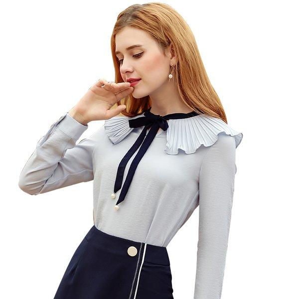 Mode blanc arc Plus la taille à manches longues col rabattu formelle élégant dames chemise femme dames tops blouse scolaire féminin haut
