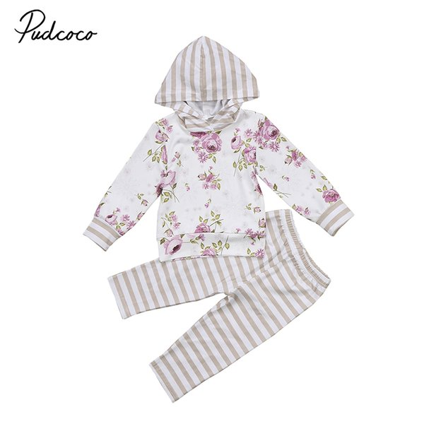 Pudcoco Brand New Autumn Toddler Kids Girl Floral Striped Clothes Set Long Sleeve Cotton Pullover Tops+Long Pant Legging 2PCS