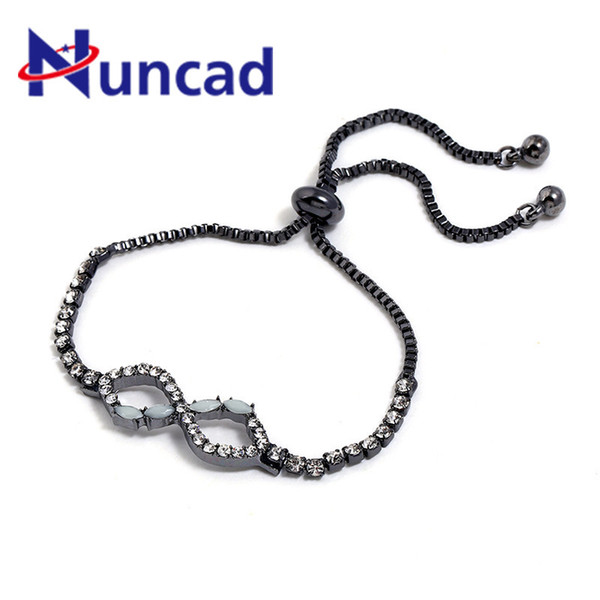 New Arrival Vintage Figure Eight Crystal CZ Infinity Charm Cuff Bracelet&Bangle For Women Jewelry Friendship Gift
