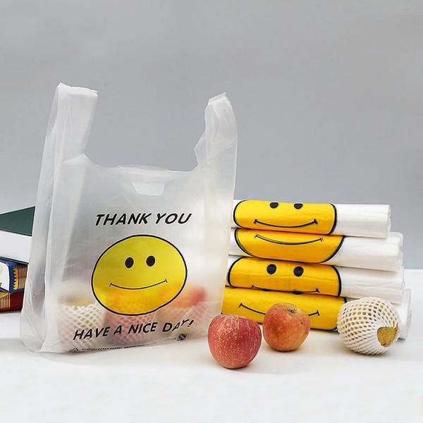 50 шт. / Лот с улыбающимся лицом пластиковые пакеты пищевая упаковка сумки прозрачный жилет хозяйственные сумки для супермаркета портативный пластиковый пакет S M L