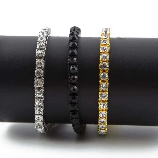 "Iced Out 1 Row Rhinestones Bracelet Men's Hip Hop Style Clear Simulated Diamond 8"" Bracelet Bling Bling"